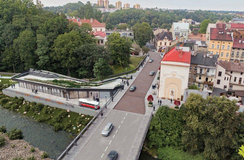 U mostu Přátelství na polské straně Těšína zmizí chátrající budova celnice, vyroste nová a dominantou bude replika tramvaje.