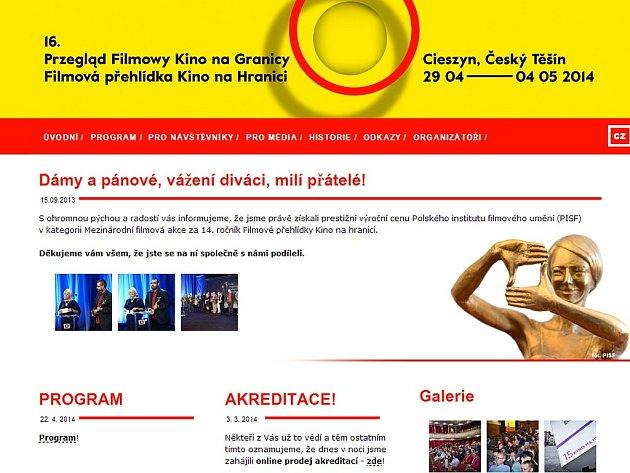 Úvodní stránka webu Kino na hranici