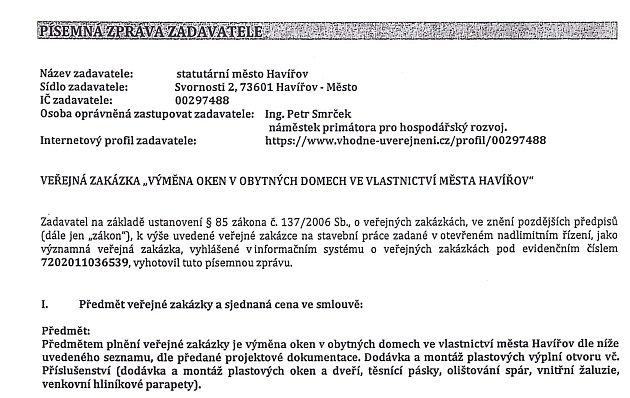 Dokument podepsaný za město Miroslavem Prosem ze společnosti Seller Moravia.