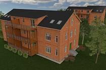 Vizualizace nové podoby červených domků v Bohumíně.