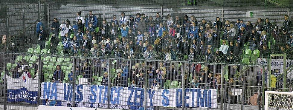 Utkání 26. kola první fotbalové ligy: MFK Karviná - Baník Ostrava, 29. března 2019 v Karviné. Na snímku fans Baníku.