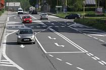 Změna jízdních pruhů na Dělnické ulici v Havířově-Prostřední Suché.