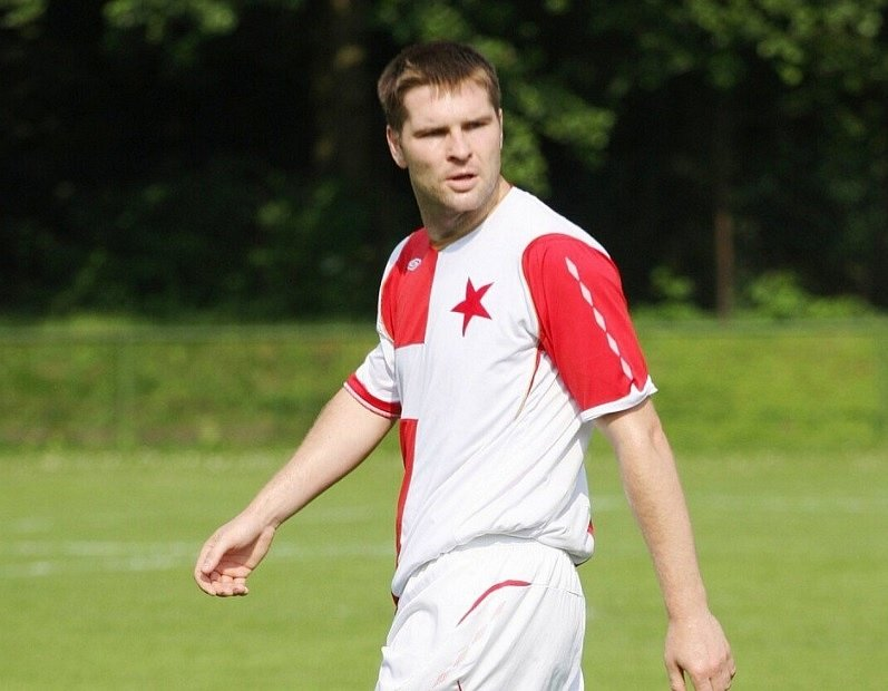 Jarmil Kopel v dresu orlovské Slavie. Svými góly pomohl klubu do MSFL.
