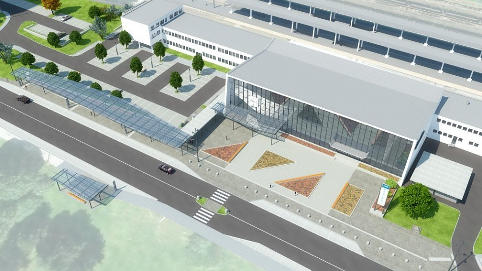 Návrh prostoru před havířovskou železniční stanicí. Varianta 2.