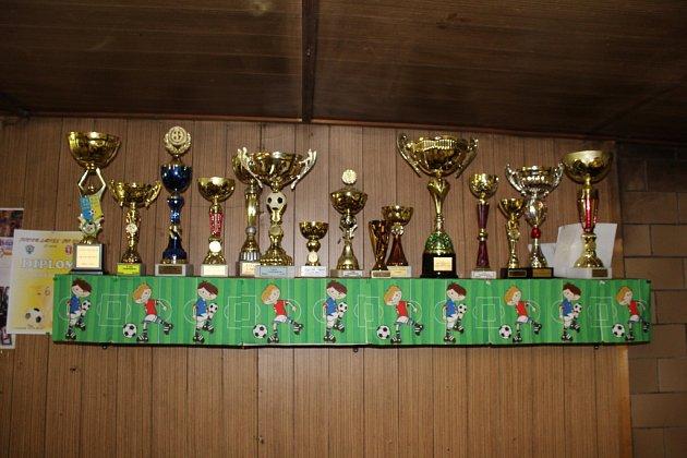 Poháry za vítězství si můžete prohlédnout vklubovně. Obstarávají je převážně fotbalistky.