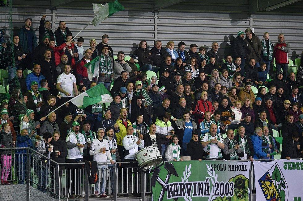 Utkání 26. kola první fotbalové ligy: MFK Karviná - Baník Ostrava, 29. března 2019 v Karviné. Na snímku fans Karviné.