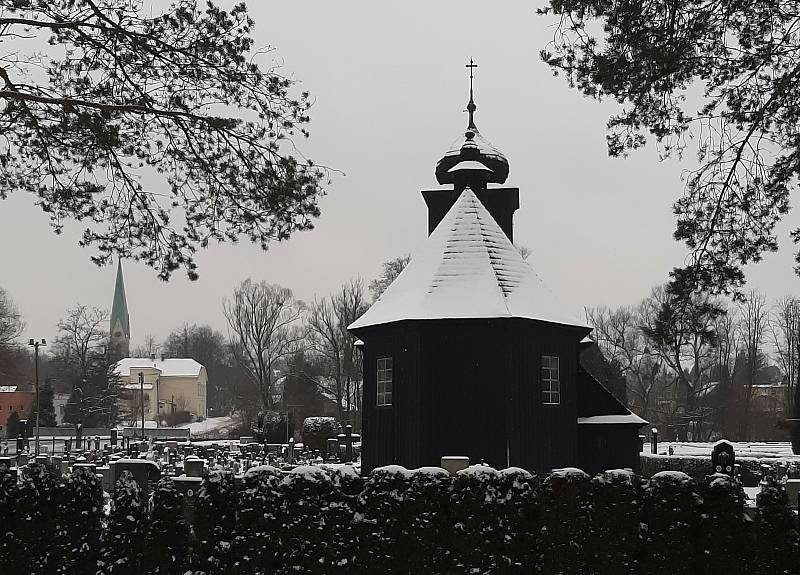 Dřevěný kostel v Albrechticích.