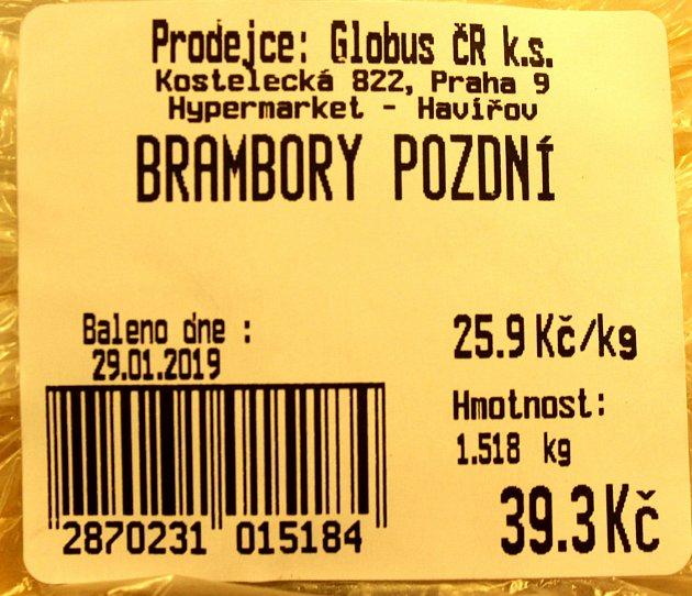 25,90Kč za kilo brambor.