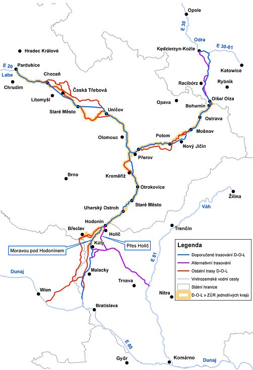 Mapa splavnění Odry.
