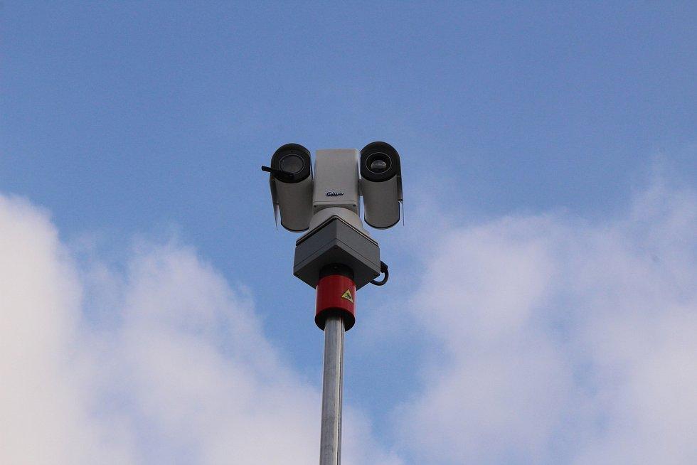Mobilní služebna Městské policie v Havířově. Stožár s kamerami.