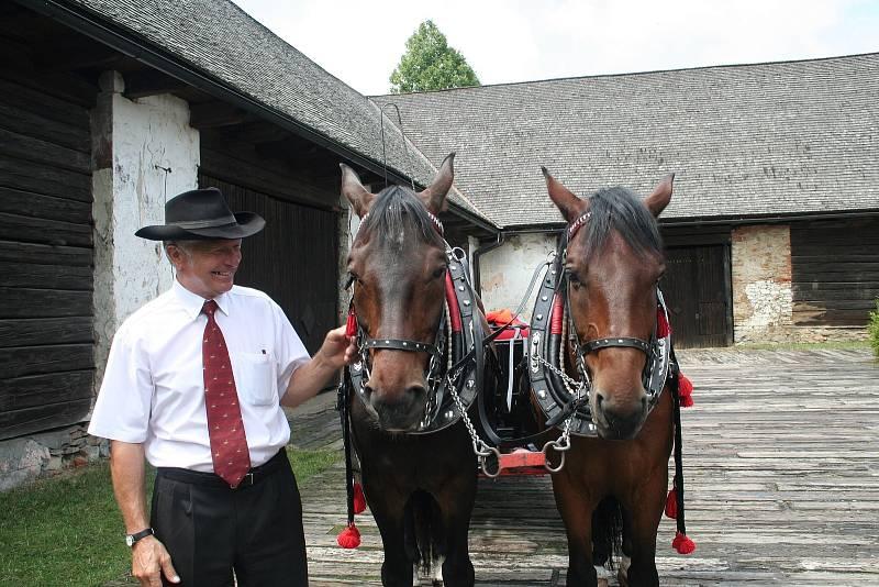 Valter Broda vozí zájemce po Karviné v kočáře taženém koňmi.