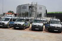 Nový karvinský fotbalový stadion si prohlédli policisté, kteří při zápasech dohlédnou na pořádek a bezpečnost.