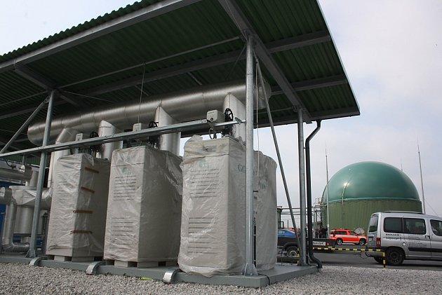 Bioplynová stanice pro zpracování bioodpadu vkogenerační jednotce na skládce Depos vHorní Suché. Turbíny kvýrobě elektrické energie a tepla zplynu.