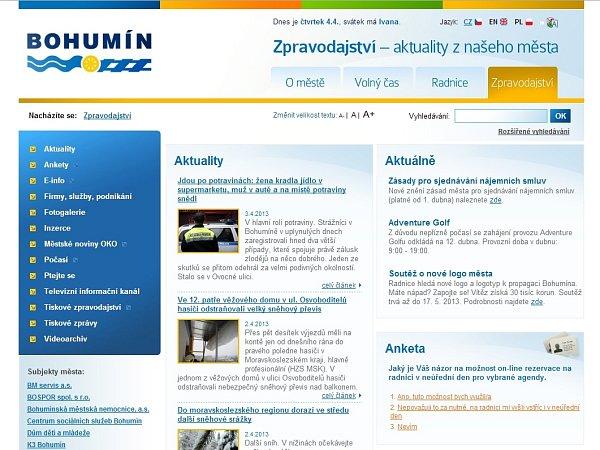 Titulní stránka webu města Bohumína.