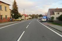 Místo kolize dítěte s automobilem v Rychvaldě.