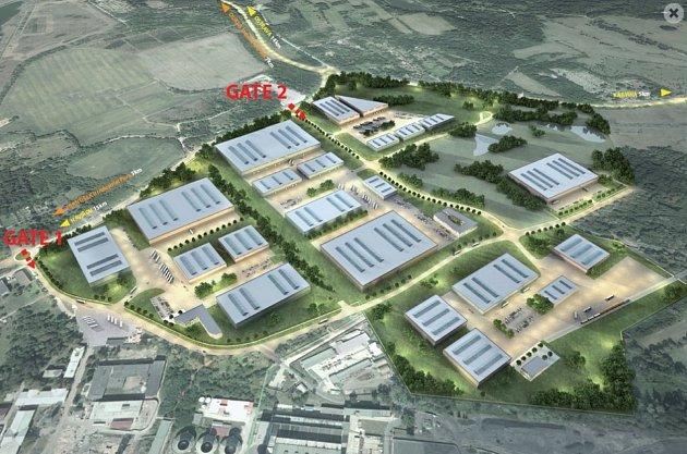 Vizualizace území Smart parku Karviná vplné verzi. Momentálně chce město společně sMSK připravit lokalitu vpravo usilnice I/59.