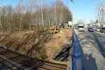 Stavba železniční zastávky Havířov střed.