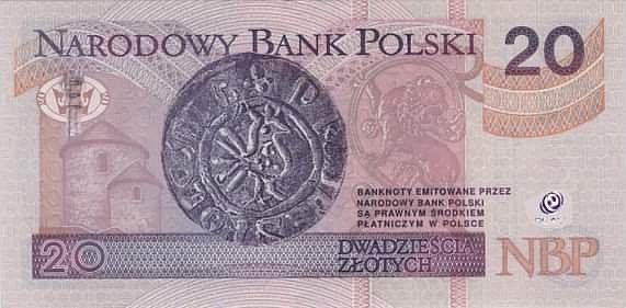 Snímek polské bankovky vhodnotě 20zlotých, na které je rotunda sv. Mikuláše a sv. Václava zTěšína vybrazena nově sPiastovsou věží a anténou ze soc. sítě Facebook..