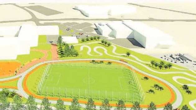 Studie představují podoby nového sportovního areálu, který by měl v budoucnu vyrůst místo dnes již nevyhovujícího areálu za Obchodní akademií v Karviné-Hranicích.