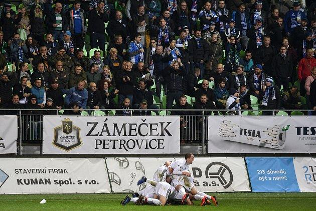 Utkání 26.kola první fotbalové ligy: MFK Karviná - Baník Ostrava, 29.března 2019vKarviné. Na snímku radost Karviné.