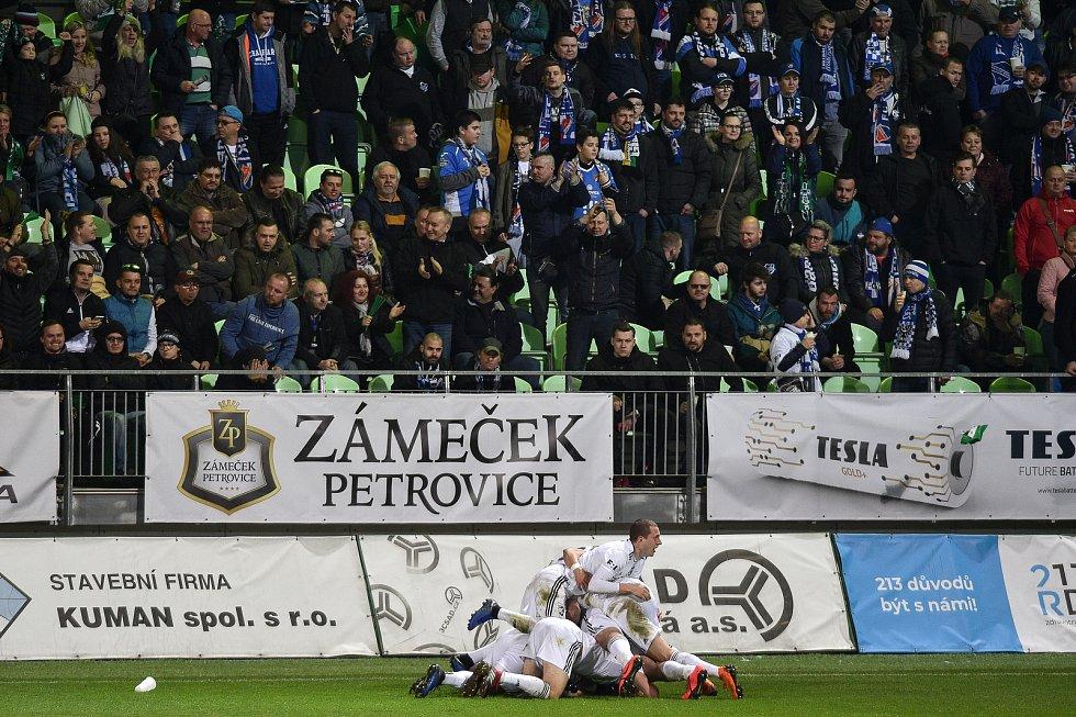 Utkání 26. kola první fotbalové ligy: MFK Karviná - Baník Ostrava, 29. března 2019 v Karviné. Na snímku radost Karviné.
