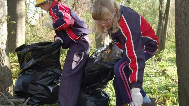 Dobrovolníci sbírali pohozené odpadky v meandrech řeky.