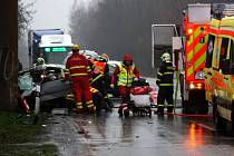 Zásah záchranářů u nehody na Orlovské ulici v Havířově-Dolní Suché.