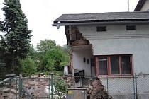 Poškozený dům v Rychvaldě.