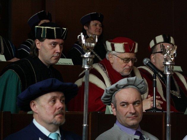 Inaugurace nového děkana  karvinské Obchodně-podnikatelské fakulty Slezské univerzity Pavla Tuleje.