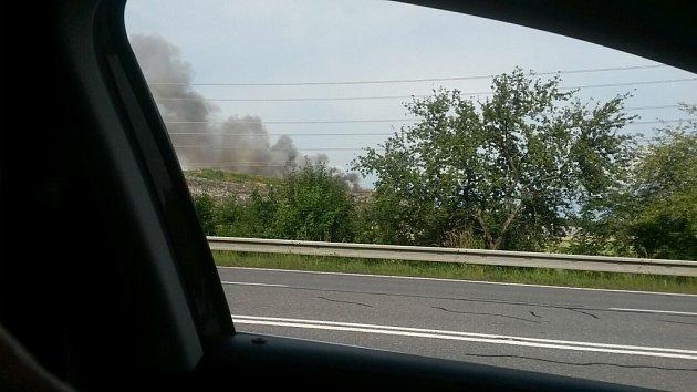 Požár skládky Depos vHorní Suché.