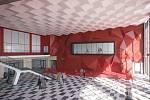 Vizualizace možné podoby interiéru nádražní haly železniční stanice v Havířově.