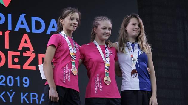 Nejlepší dívky. Zleva druhá Karolína Gendová, vítězka Markéta Janošová (obě MS kraj) a třetí Hana Šikulová (OL kraj).