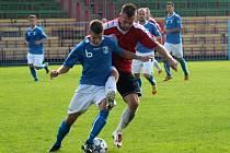 Lukáš Skoupý (v modrém) zařídil proti Novému Jičínu oba góly.