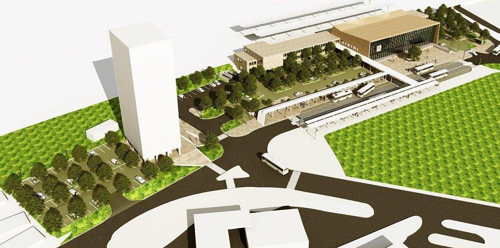 Návrh prostoru před havířovskou železniční stanicí. Varianta 4.