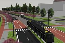 Vizualizace projektu tramvajové dopravy v Karviné.