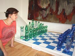 Takzvaný pet-art Renaty Filipové obdivují návštěvníci Střediska hudby a umění karvinské knihovny.
