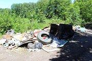 Vězni nanosili odpad z lesa k silnici, kde hnije déle než měsíc, protože Lesy ČR vybírají firmu, která ho odveze.