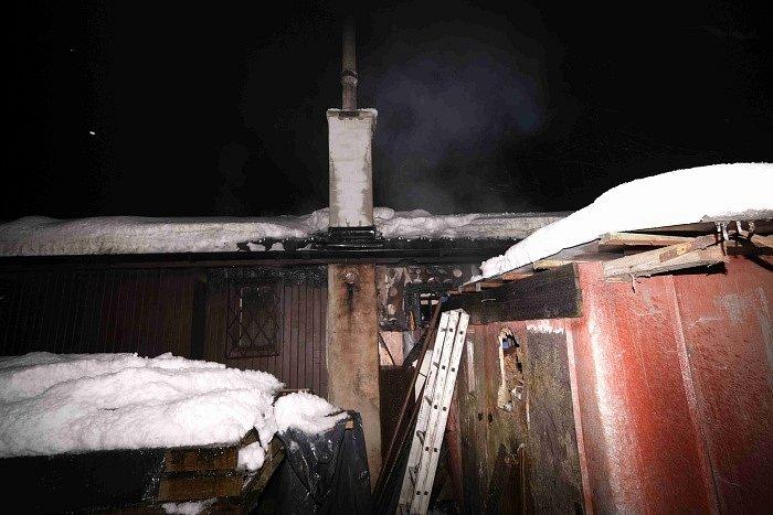 Požár v Prstné, 17. ledna 2021.