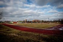 Atletický stadion v Havířově, leden 2020.