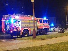 Místo vážné dopravní nehody motorkáře u havířovského autobusového nádraží. .