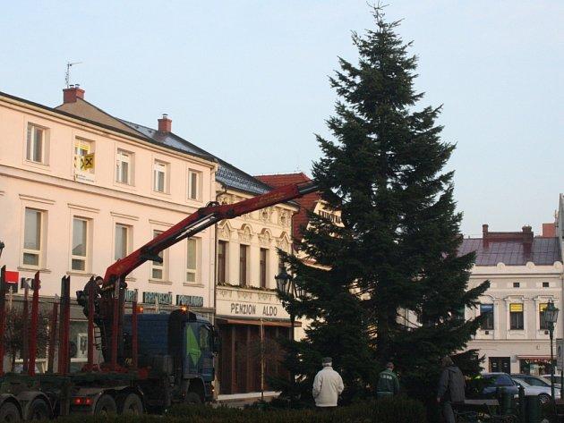 Stavění vánočního stromu v karvinském Fryštátě.