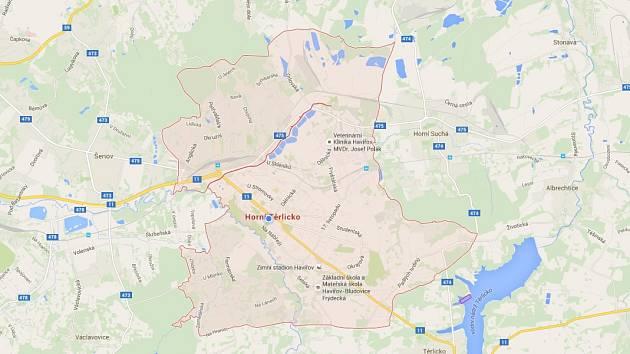 Google vymazal Havířov z mapy.