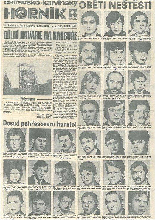 První strana závodních novin Horník s fotkami a jmény obětí neštěstí v říjnu 1990.