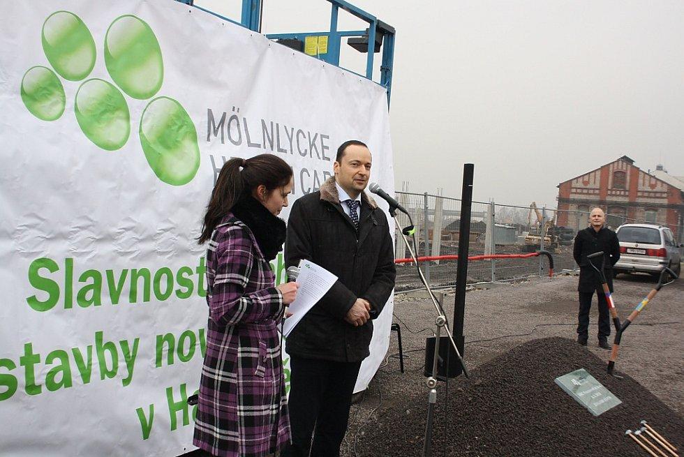 Slavnostní zahájení stavby Mölnlycke Health Care v Havířově-Dolní Suché. Primátor Havířova Daniel Pawlas.