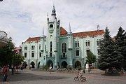 Město Mukačevo v Zakarpatské oblasti západní Ukrajiny. Radnice.