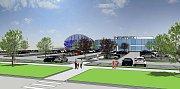Vizualizace - původní varianta. Lázně Darkov chtějí v Karviné stavět termální park. Zatím však nezískaly podporu města, takže plánují postavit jen menší variantu, než je tato.
