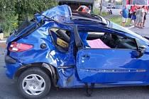 Jeden z účastníků nehody - Peugeot 206