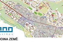 Mapa s vyznačeným územím v centru Havířova, kde bude na hodinu zhasnuto veřejné osvětlení.