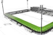 Podoba fotbalového stadionu v Karviné.