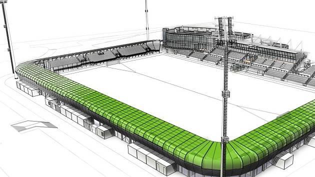 Navržená podoba fotbalového stadionu v Karviné.